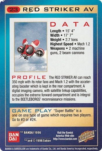 #23 RED STRIKER AV - Card Back.