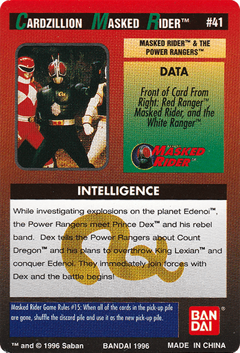 #41 MASKED RIDER™ AND THE POWER RANGERS™ - Card Back.