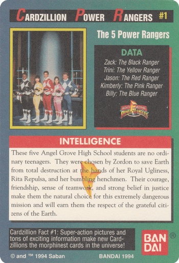 #1 The 5 Power Rangers™ - Card Back.