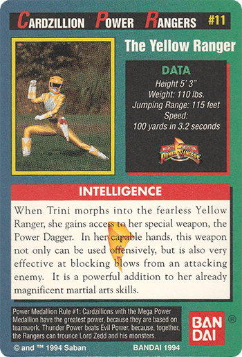 #11 The Yellow Ranger - Card Back.