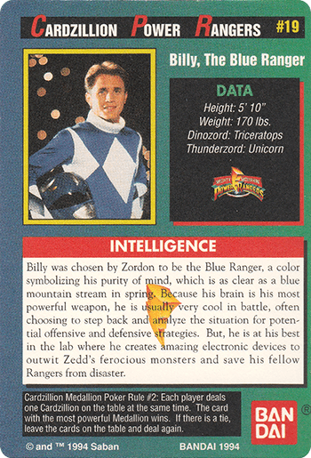 #19 Billy, The Blue Ranger - Card Back.