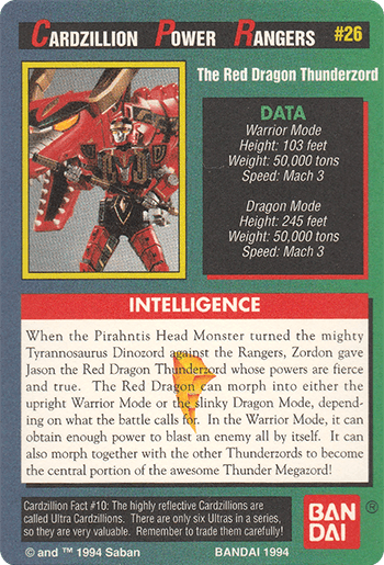 #26 The Red Dragon Thunderzord - Card Back.