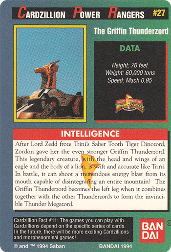 #27 The Griffin Thunderzord - Card Back.