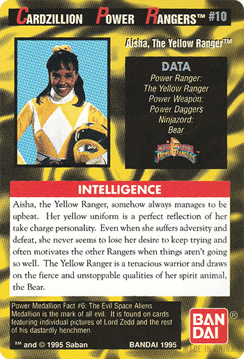 #10 Aisha, The Yellow Ranger™ - Card Back.