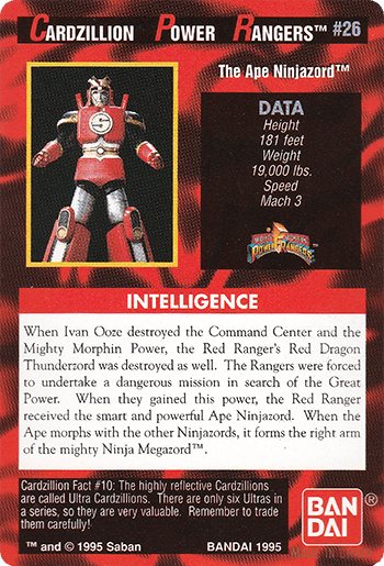 #26 The Ape Ninjazord™ - Card Back.