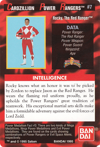 #7 Rocky, The Red Ranger™ - Card Back.