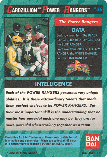 #46 THE POWER RANGERS - Card Back.