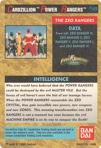 #49 ZEO RANGERS - Card Back.