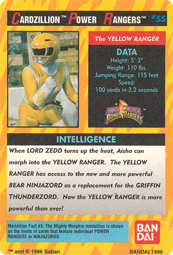 #55 THE YELLOW RANGER - Card Back.