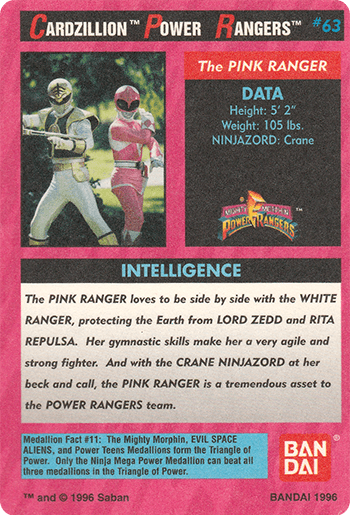 #63 The PINK RANGER - Card Back.