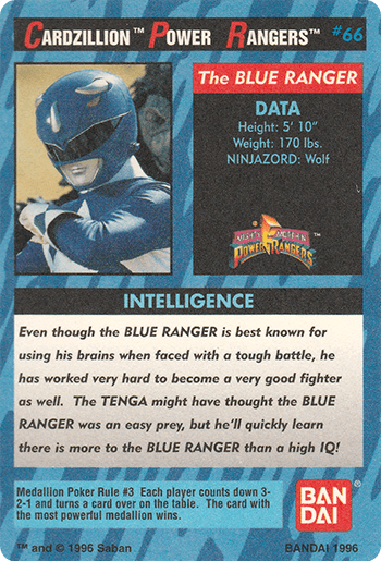 #66 The BLUE RANGER - Card Back.