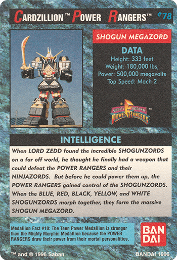 #78 SHOGUN MEGAZORD - Card Back.