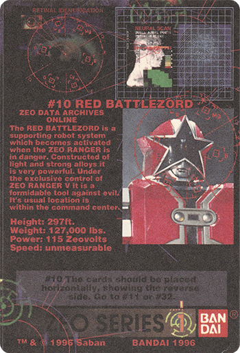 #10 RED BATTLEZORD - Card Back.