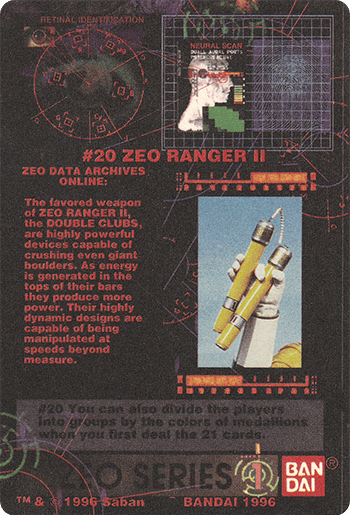 #20 ZEO RANGER II - Card Back.