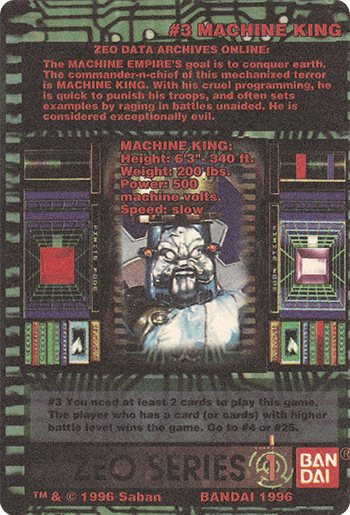 #3 MACHINE KING - Card Back.