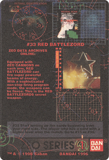 #33 RED BATTLEZORD - Card Back.