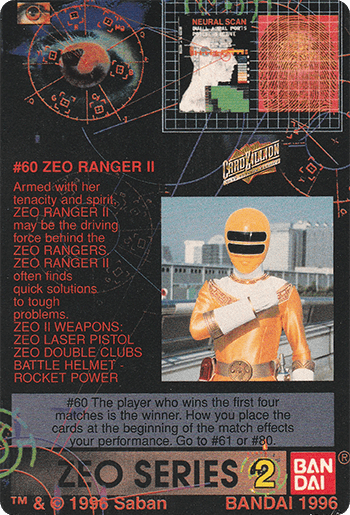 #60 ZEO RANGER II - Card Back.