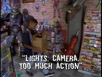 "Title Card for ""Lights, Camera, Too Much Action""."