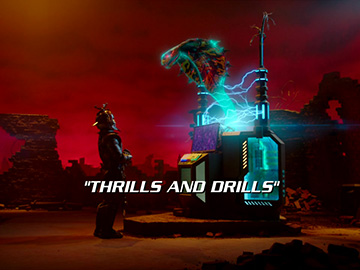 "Title Card for ""Thrills and Drills""."