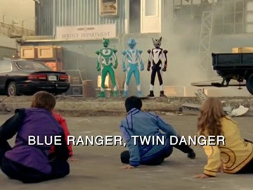 "Title Card for ""Blue Ranger, Twin Danger""."