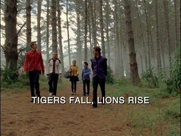 "Title Card for ""Tigers Fall, Lions Rise""."