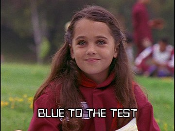 "Title Card for ""Blue to the Test""."