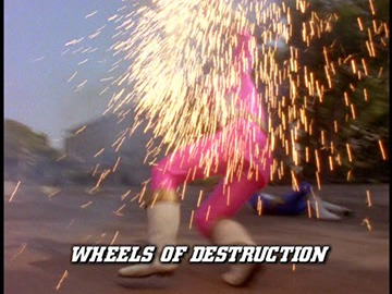 "Episode Title Card for ""Wheels of Destruction""."