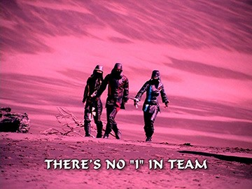 "Title Card for ""There's No ""I"" in Team""."