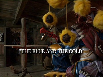 "Title Card for ""The Blue and the Gold""."