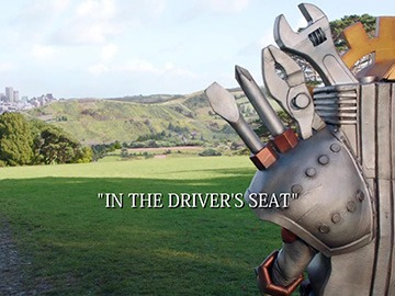 "Title Card for ""In the Driver's Seat""."