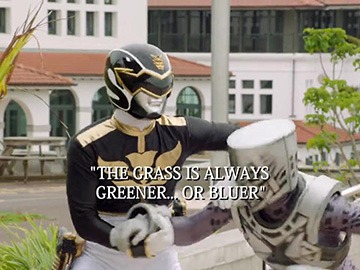 "Title Card for ""The Grass is Always Greener... or Bluer""."