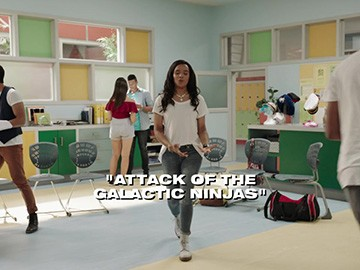 "Title Card for ""Attack of the Galactic Ninjas""."