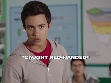 "Title Card for ""Caught Red-Handed""."