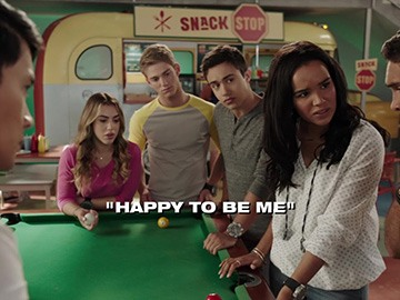 "Title Card for ""Happy to Be Me""."