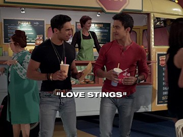 "Title Card for ""Love Stings""."