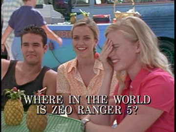 "Title Card for ""Where in the World is Zeo Ranger 5?""."