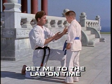 "Title Card for ""Get Me to the Lab on Time""."
