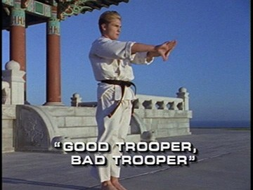 "Title Card for ""Good Trooper, Bad Trooper""."