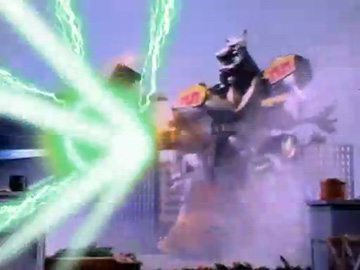 "Dragonzord in Fighting Mode impaling the Frankenstein monster (from ""Life's a Masquerade"")."